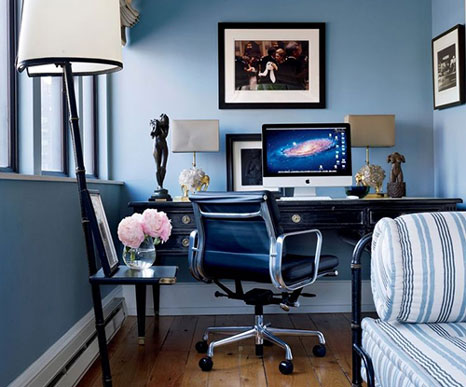 blue painted home office