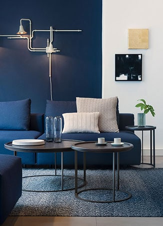 modern interior designed blue room
