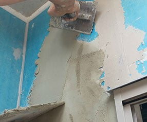 plaster blue wall
